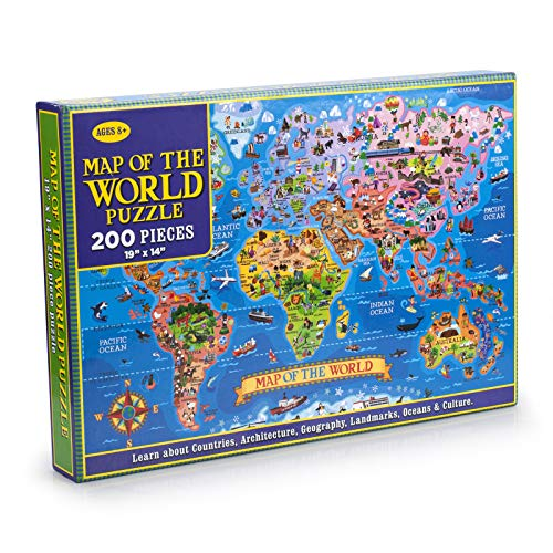 MAZYPO 200 Pieces World Map Jigsaw Puzzle of Learning & Education for Kids Raising Children Recognition and Memory Skill Practice, Learn World States Along with Their Capitals and Fun Facts
