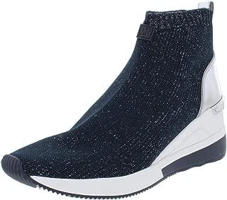 Michael Michael Kors Womens Skyler Metallic Sneaker Boots Navy 9 Medium (B,M)