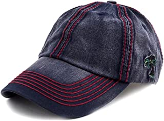 Crazy4Bling Navy Blue Washed Denim Baseball Cap Hat w/Palm Tree Accent & Thick Red Stitching