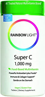 Rainbow Light - Super C 1,000 mg - Food-based, High Potency, Vegan Vitamin C Supplement, Supports Immune Health and Provid...
