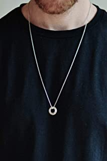 Karma necklace for men, men's necklace with a silver circle pendant, link chain necklace, gift for him, minimalist jewelr...