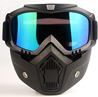 MOCHOEL Motorcycle Goggles Mask, Tactical Glasses for Outdoor Airsoft CS Snowmobile Skiing Riding Motocross Cycling Anti-Fog Windproof UV400 Safety Protection Halloween/Costume Ball