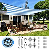 Quictent 185HDPE Stripe Color Rectangle Sun Shade Sail Outdoor Patio Lawn Garden Canopy Top Cover 98% UV-Blocked 26 x 20 ft with Free Hardware Kit (White and Blue)