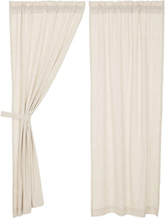VHC Brands Farmhouse French Country Curtains Simple Life Flax Solid Panel Pair, Natural