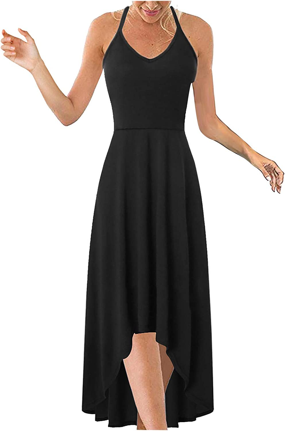 Lovor Women's Plus Size Solid Color V Neck Sleeveless Casual Long Dress Summer Asymmetrical Patchwork Cami Maxi Dresses