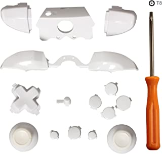 eJiasu Controller Repair Kit, Replacement LB RB LT RT ABXY Bumper Trigger Dpad Buttons Kit Set+T8 Screwdriver for Xbox One Elite Controller (One Set White)