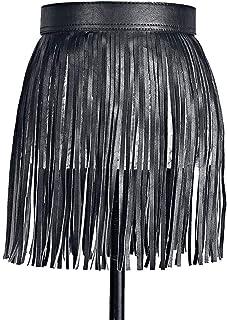 Hotaden di Cuoio delle Signore della Breve Cintura Fringeb Cintura per Dress Shirt per Le Donne 35cm Nero