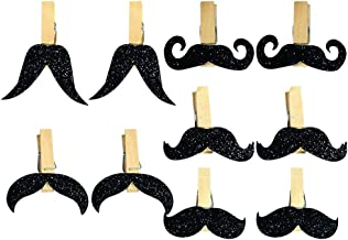 KESYOO 10 Pcs Wooden Party Banner Mini Mustache Clothespins Goatee Clips for Party Father' s Day Father' s Day Supplies