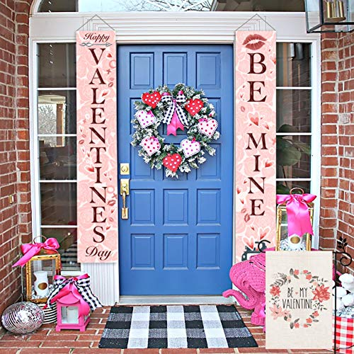 CROWNED BEAUTY Valentines Day Porch Banner Front Door Welcome Sign Decoration 2 PCs for Home Rustic Valentine Theme Party Farmhouse Décor CS001-12