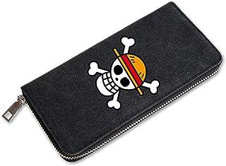 HPOZA Unisex Anime Brieftasche One Piece Lange Brieftasche aus Segeltuch Wallet Geldbörse Portemonnaie Kreditkartenhülle Geldclip Portmonee Brieftasche