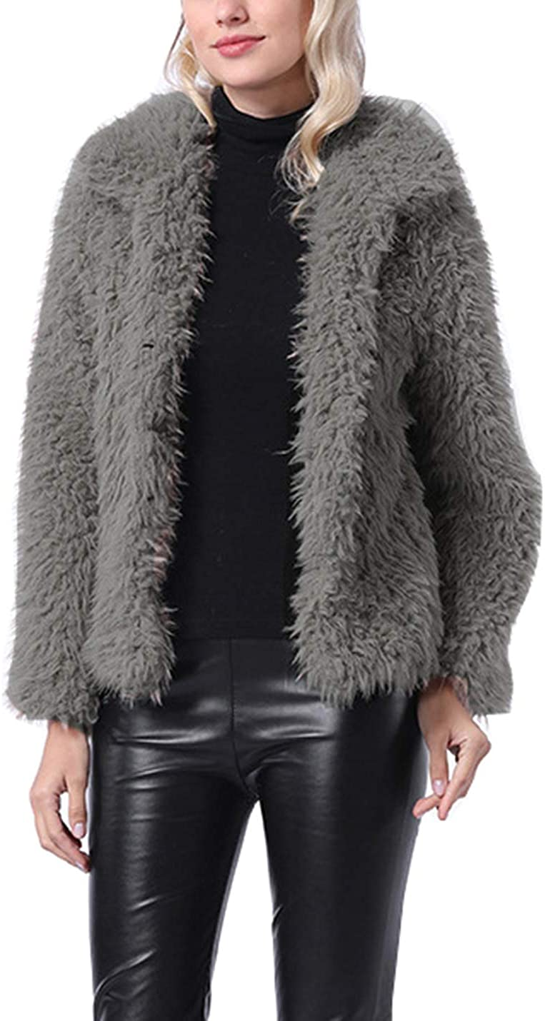 PAODIKUAI Women Price reduction Shaggy Lapel Coat Jacke Short High order Warm Faux Fur
