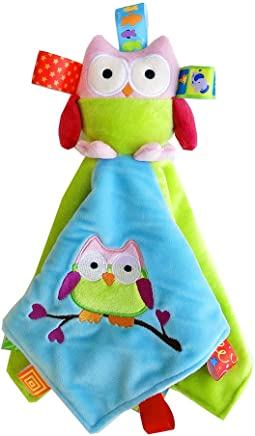Ogquaton Premium Baby Tag Taggy Couverture Sécurité Couette Couvertures avec Hibou en Peluche Doux Matelas et linge de lit pour Bébés Garçons Filles Cadeaux en Peluche Jouets