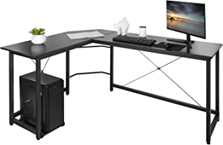"AuAg L Shaped Computer Desk, Modern L Shaped Corner Desk, 66"" Gaming Desk, PC Laptop Study Writing Table Workstation Desk for Home Office (66"" x 47.5"" x 29"", Black)"