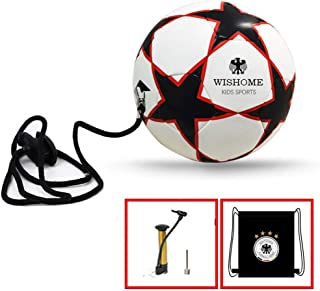 WISHOME Kids Soccer Solo Trainer Playground Ball Football Kick/Throw/Control Equipment Skill Training Ball with Adjustable Belt for Dribbling Children Gift Soccer Set with Bag&Pump