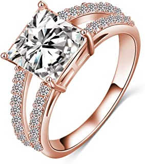 LuckyWeng Princess Cut CZ Engagement Rings Rose Gold Pave Small Cubic Zirconia 2 Row Split Shank