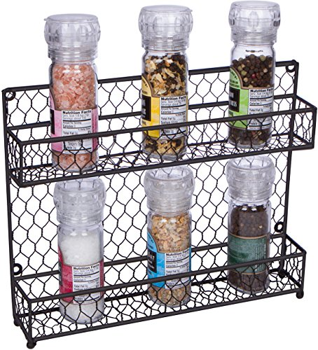 Trademark Innovations 2-Tier Wire Spice Rack Storage Organizer - Wall Mount or Countertop, 12' x 10', Black