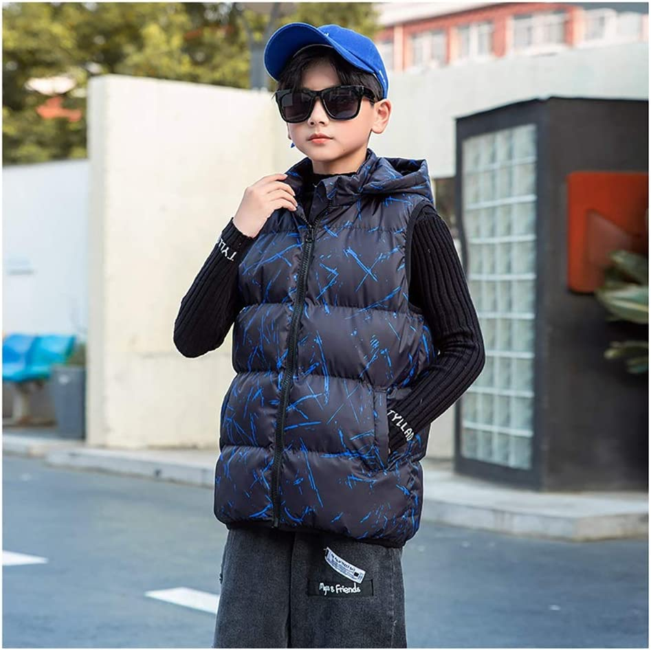 Boy's Vest Winter Hooded Puffer Vest Warm Thicken Jacket Full-Zip Warm Sleeveless Jacket with Hooded (Color : Blue, Size : Medium)