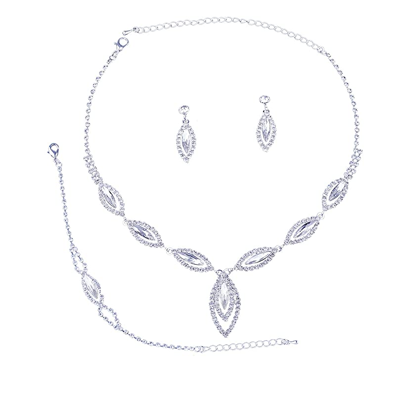 Topwholesalejewel Bridal Jewelry Set Silver Crystal Rhinestone Necklace Earring For Wedding