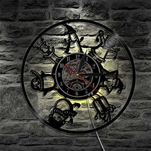 xcvbxcvb Feliz Navidad Santa Silueta retroiluminación LED iluminación Moderna Reloj de Vinilo de Pared decoración del hogar Control Remoto