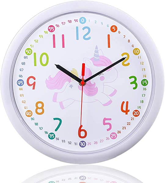 Silent Kids Wall Clock Time Teaching Clock Non Ticking Clock Learn To Tell Time For Children Living Room Bedroom Colorful Easy To Read