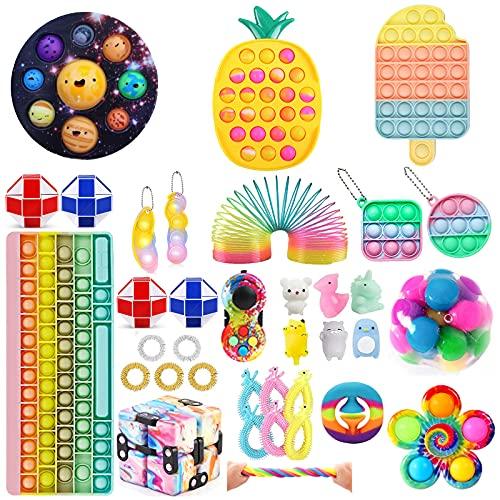 Mubineo Juguete Fidget Toy, Paquete de Juguetes Fidget Toy Set, Juego de Juguetes Fidget Pop con Hoyuelos, Juguete Fidget Sensorial, Juego de Juguetes Fidget para Niños y Adultos