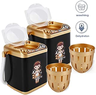 Hamkaw 2Pack Makeup Brush Cleaner Device Simulation Mini Automatic Washing Machine Electronic Cleaning Tool Toy for Cosmetic Brush, Sponge, Makeup Eggs, Powder Puff