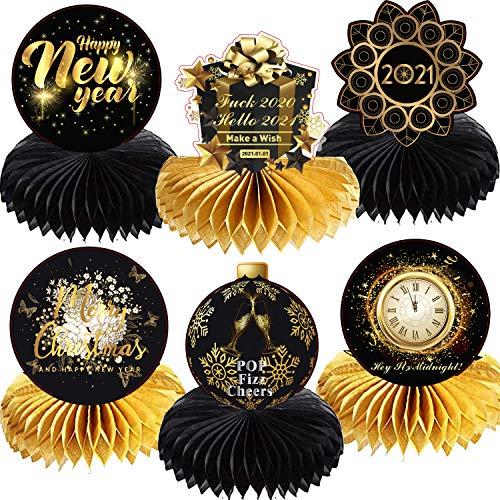 6pcs Happy New Year Decorazioni per la tavola 2021 Centrotavola da tavolo a nido d'ape in nero e oro Segni Ornamenti Capodanno Decorativo