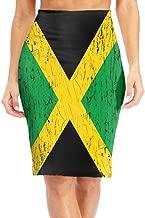 Antonia Bellamy Distressed Flag Jamaican Women's High Waist Stretchy Knee Length Bodycon Midi Pencil Skirt