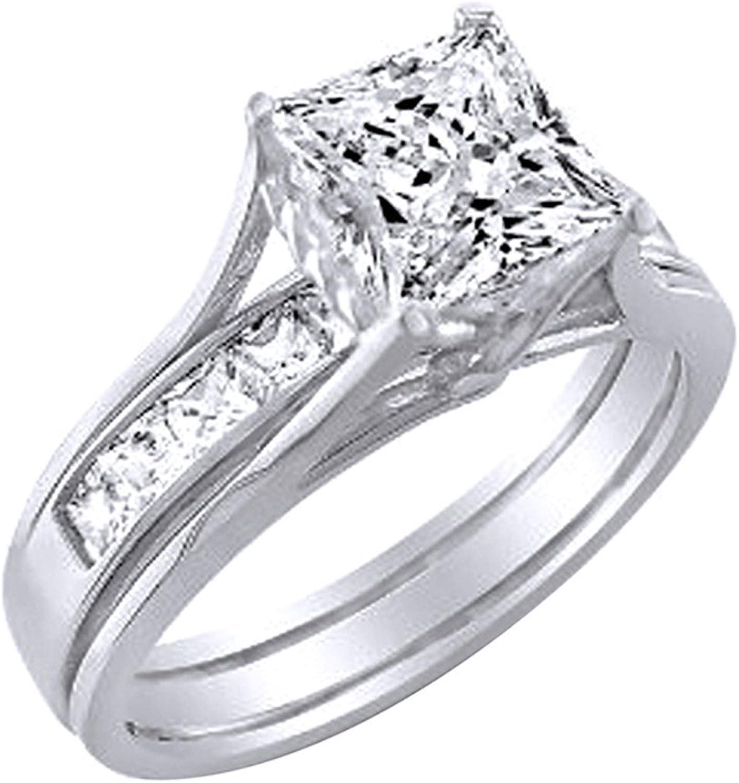 AFFY Verlobungsring Hochzeitsring mit 18 Karat verGoldetem Sterlingsilber (3,65 Karat) Wei Zirkonia