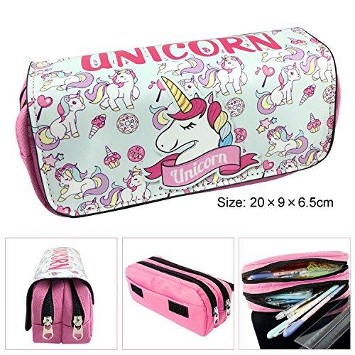CHIPYHOME Estuche XL Escolar Top Unicornio Dos departementos y Tapa Proteccion diseño Resistente o Estuche maquillajes, pongotodo, manicuara.. mil usos