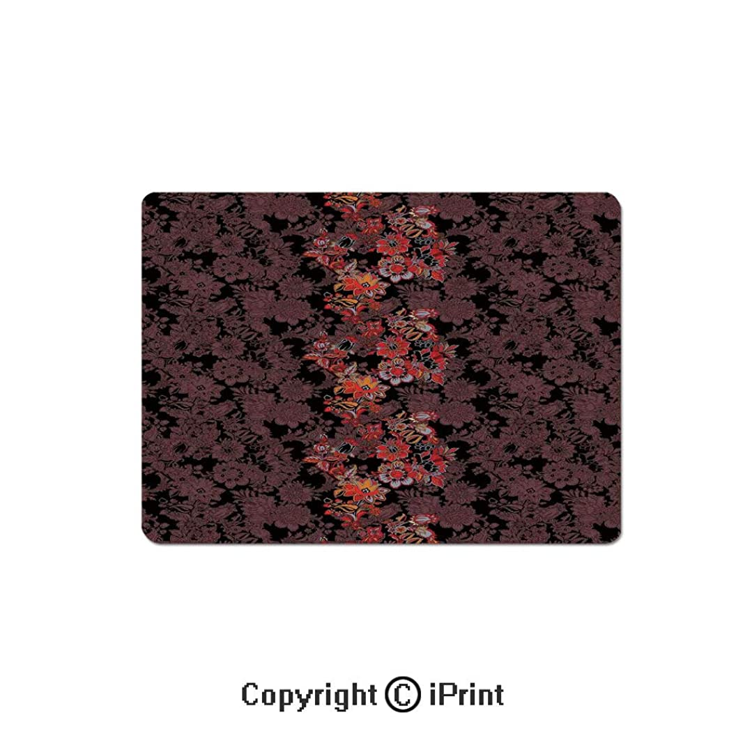 Anti-Slip Mouse Pad,Flowers of Asia Japanese Art Style Vivid Floral Pattern Boho Print Mouse Mat,Non-Slip Rubber Base Mousepad,7.9x9.5 inch,Maroon Black Scarlet Red hvmorprcjgu68