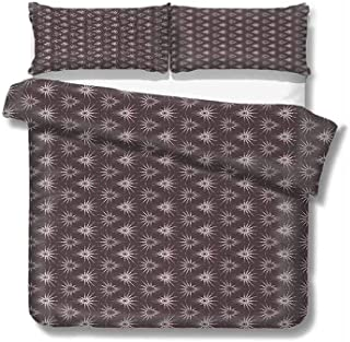 Mozenou Extra Large Duvet Cover Retro Pattern with Optical Illusion Design with Circles Geometric Illustration 100% Cotton Bedding, 1 Quilt Cover and 2 Pillowcases, Zip Closure 104x89 inch