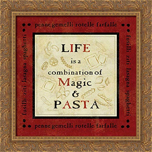 Gladding, Pamela 20x20 Gold Ornate Framed Canvas Art Print Titled: Pasta Sayings I
