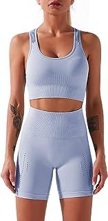 Mulisky Women's Workout 2 Piece Outfits High Waist Yoga Sports Shorts Tracksuits Sets