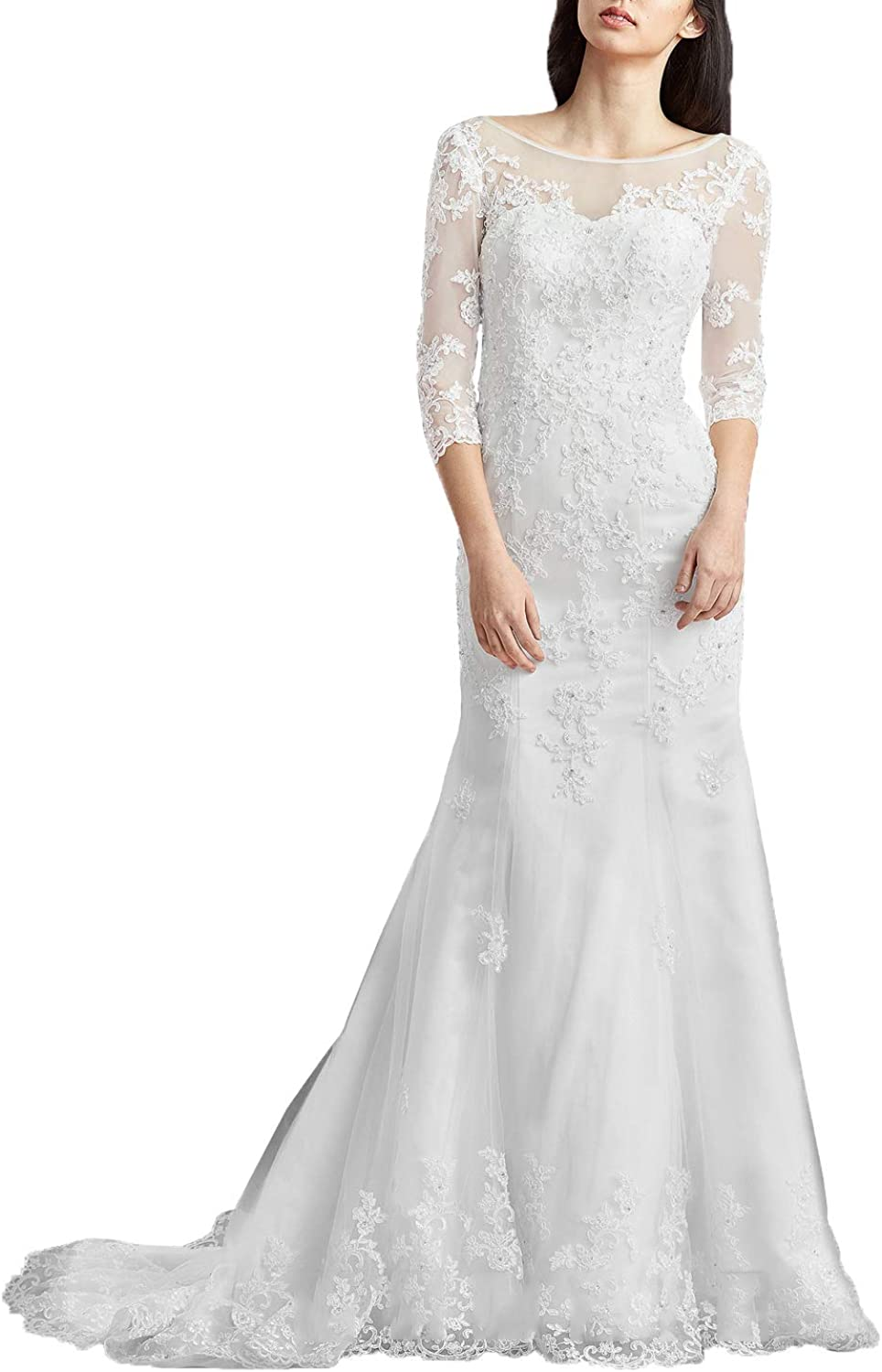 Aishanglina Women's Illusion Sweetheart Lace Appliqued Bridal Wedding Dress Evening Gown 3 4 Sleeves