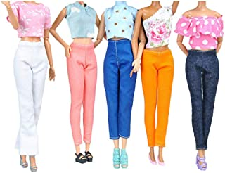 E-TING 5 Set Doll Clothes Outfit 5 Tops 5 Trousers Pants for Barbie Doll Picture Style Gift, TT001