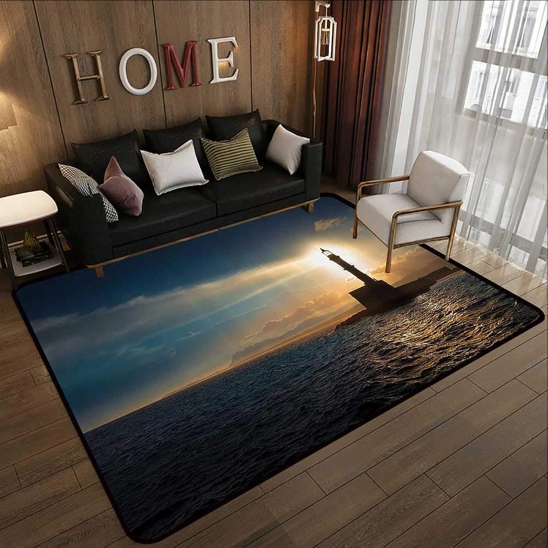 Carpet mat,Lighthouse Decor Collection,Lighthouse on Sunset Sunlights Romance Vacation Tourist Attractions Waterscape Print,bluee Gr 47 x 59  Floor Mat Entrance Doormat
