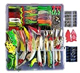 Fishing Lures Kit 273pcs/Set Fishing Tackle Box Crankbaits Spinnerbaits Plastic Worms Minnow Popper Pencil Hard Metal Lures Soft Fishing Jigs Fishing Hooks + 2 Frog Lures Gifts