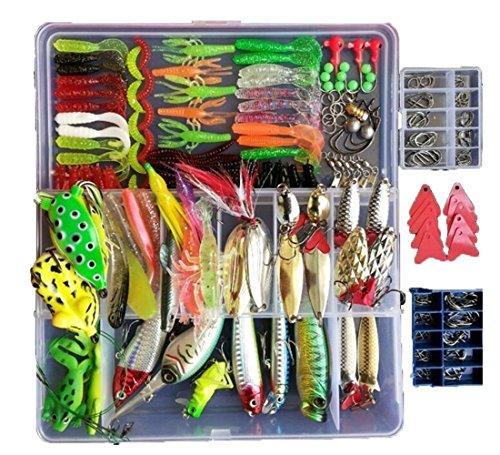 Afishup Juego de señuelos de pesca, 273 unidades, caja de aparejos de plástico, gusanos Minnow Popper, lápiz, cebo de metal duro, accesorios de pesca blandos + 2 cebos de rana regalos (273 unidades)