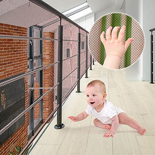 XiYee Malla De Seguridad para Escaleras, 3 Metros Red de Seguridad para Balcones, Red de Seguridad para Niños, Redes De Protección de Las Escaleras Balcón, Malla Tejida para Escaleras (Brown)