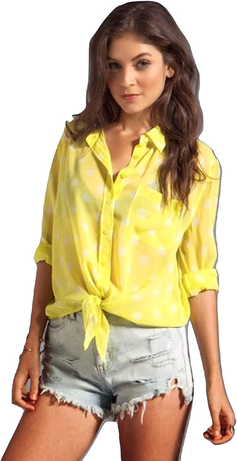 Equipment Spotted Summer Daddy Tie Front Blouse in Lime Punch