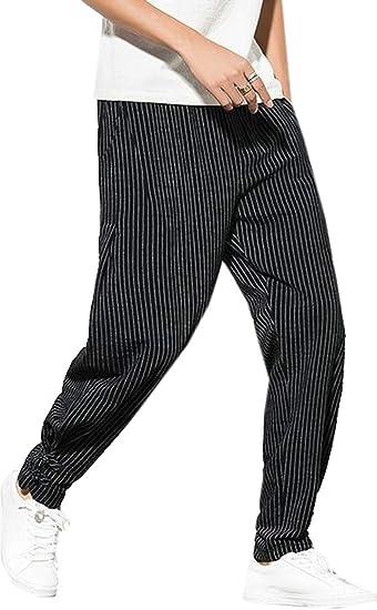 Uuyuk Pantalones De Hombre Pantalones De Lino Pantalones Rayados Amazon Com Mx Ropa Zapatos Y Accesorios