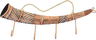 eCraftIndia Long Shehnai Wrought Iron Key Holder (30 cm x 1 cm x 13, Red and Brown)