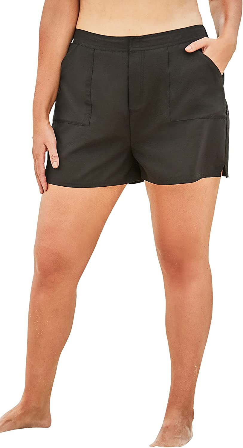 Swimsuits For All Women's Plus Size Cargo Swim Shorts with Side Slits Swimsuit Bottoms