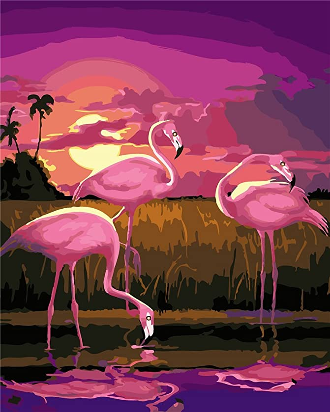 YEESAM ART New DIY Paint by Number Kits for Adults Kids Beginner - Sunset Flamingos 16x20 inch Linen Canvas - Stress Less Number Painting Gifts (with Frame)