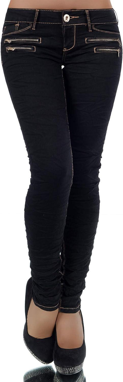 Damen Jeans Hose H/üfthose Damenjeans H/üftjeans R/öhrenjeans R/öhrenhose R/öhre L851