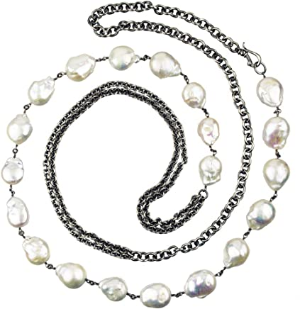 4e6636ecebcbb Freshwater Pearl Necklace with Antiqued Sterling Silver Chain