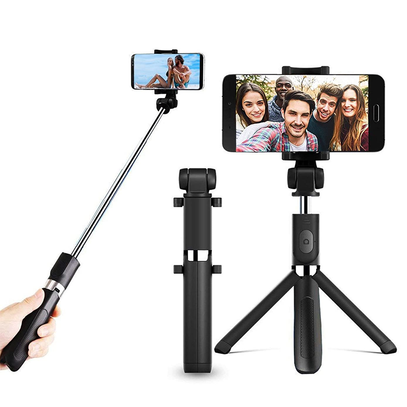 Potok Selfie Stick Tripod, Extendable Cell Phone Stand Portable Monopod with Bluetooth Wireless Remote for iPhone X/iPhone 8/8 Plus/iPhone 7/iPhone 7 Plus/Galaxy S9/S9 Plus/Note 8/S8/S8 Plus/More