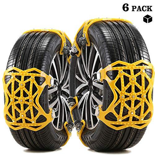 FCX-SNOWCH Schneeketten, Universal Auto Schneeketten Gelb Einfach zu montieren Reifen Schneekette, 6 Stücke Anti-Rutsch-Ketten, Reifenbreite 165-275mm
