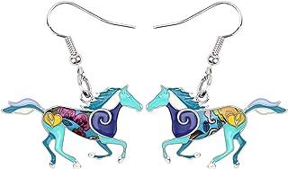 BONSNY Enamel Alloy Colorful Horse Earrings for Women Girls Kids Animal Lover Statement Jewelry